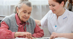 caregiver with elderly female client